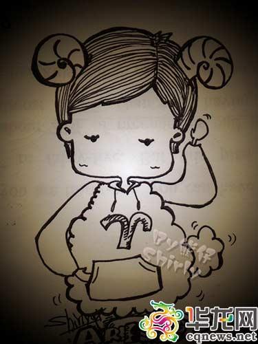 熊润淼告诉记者,她学过国画,这种手绘的简笔画是高中给日记画插图开始的.