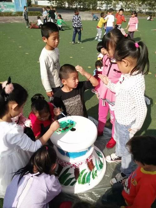 幼儿园油桶涂鸦制作花盆