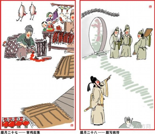 腊月二十七,宰年鸡、赶大集,春节所需物品都在置办之中。   腊月二十八,打糕蒸馍贴花。古人以桃木为辟邪之木,后被红纸代替。