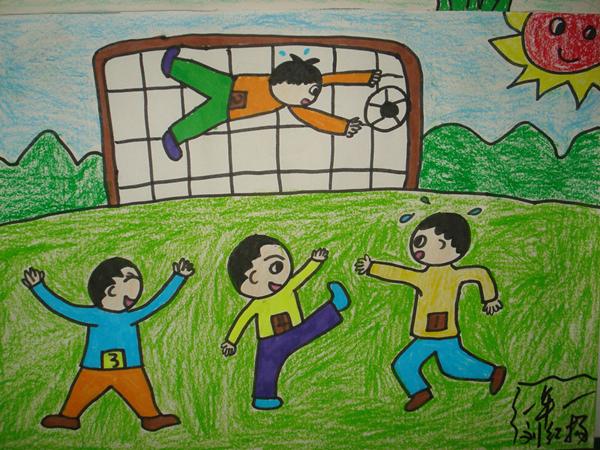 一年级孩子的绘画作品-阿荣旗红花梁子中心校举行 中国梦足球梦 足球