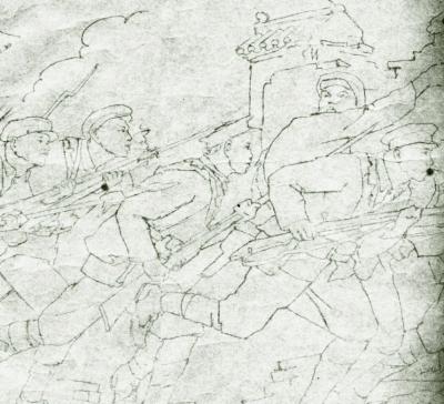 人民英雄纪念碑浮雕《武昌起义》图稿局部