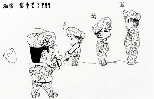 军训手绘图片素材