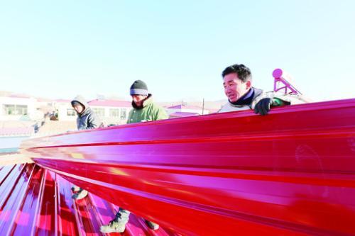 农村彩钢瓦房顶效果图红色